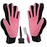 #5: JJYPet Pet Hair Remover Glove with Pet Grooming Comb for Cats/Dogs with Short/Long Hair