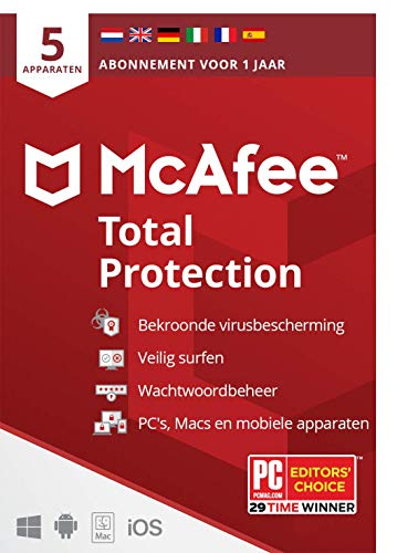 McAfee Total Protection 2021 |5 apparaten |1 jaar | antivirussoftware, internetbeveiliging, wachtwoordbeheer, Mobile…