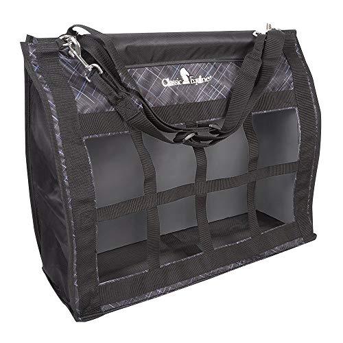 (Classic Equine Adjustable Strap Horse Top Load Hey Bag Black Slash/Black)