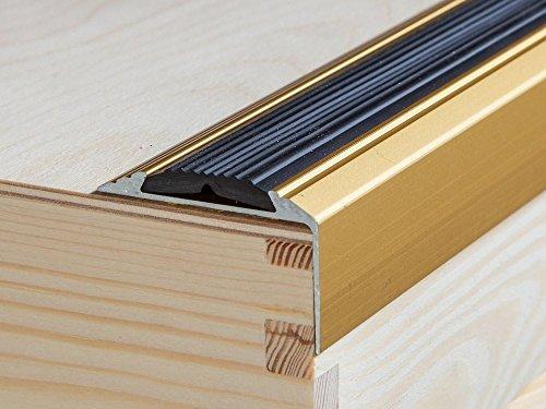 Trim Nosing - ANODISED ALUMINIUM ANTI NON SLIP STAIR EDGE NOSING TRIM 1200mm x 46mm x 30mm, A38, Gold, by IANPAV