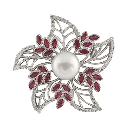 Brooch Gold Cultured Pearl (Handpicked AAA+ Freshwater Cultured Pearl Nested in 925 Silver Fancy Flower Red Curundum Brooch)