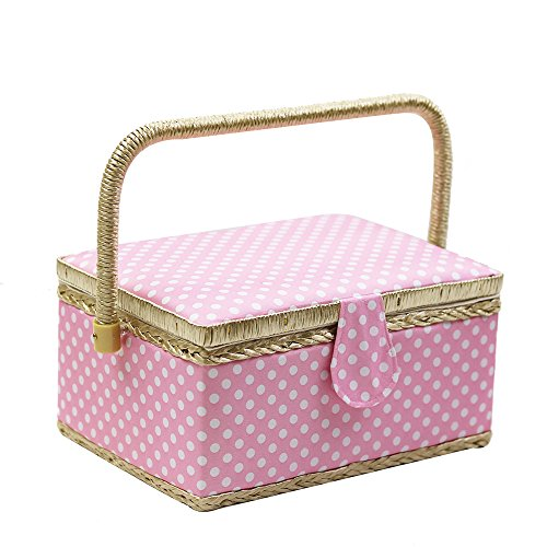 DD 100% Handmade Sewing Basket with Sewing Kit Accessories,Handle  Tray (9.5 x 6.9 x 5.1 inches)