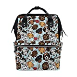 WOZO Cartoon Dachshund Chihuahua Dog Paw Print Multi-function Diaper Bags Backpack Travel Bag