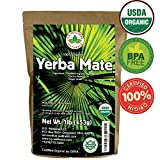 Yerba Mate Tea 1LB (16Oz) HI-CAFFEINE 100% CERTIFIED Organic SUPER-GREEN Yerba Mate | NO Dust | FRESH – NEVER Aged (Ilex Paraguariensis) | Brazilian Rain Forest Grown from U.S. Wellness Naturals Review