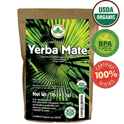 Yerba Mate Tea 1LB (16Oz) HI-CAFFEINE 100% CERTIFIED Organic SUPER-GREEN Yerba Mate | NO Dust | FRESH - NEVER Aged (Ilex Paraguariensis) | Brazilian Rain Forest Grown from U.S. Wellness Naturals