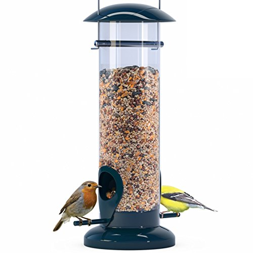 Nibble Weather Proof Anti-Bacterial Bird Feeder with UV Sun-proof Anti-Bacterial Coating. Durable and Disassembles for Quick, Easy Cleaning (Cylinder Bird Feeder)