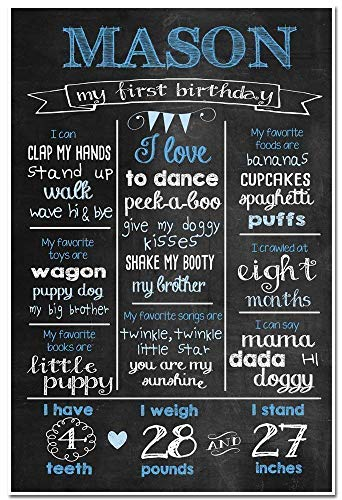 Custom Milestone Stats Birthday Sign Photo Prop Poster -