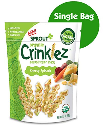 Sprout Organic Crinklez Toddler Snacks, Cheesy Spinach, 1.5 Ounce Bag (Single)