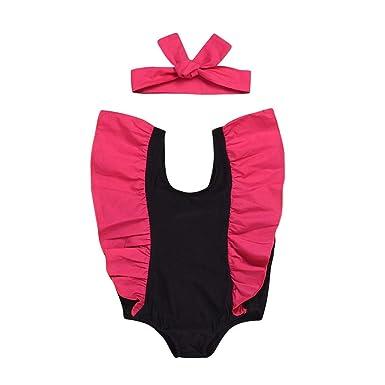 6c02a17968 Amazon.com: Swimsuit+Headbands Set Outfit Summer One Piece Swimwear for  Baby Girl Ruffle Solid Beach Bikini with Headband 2Pcs: Clothing