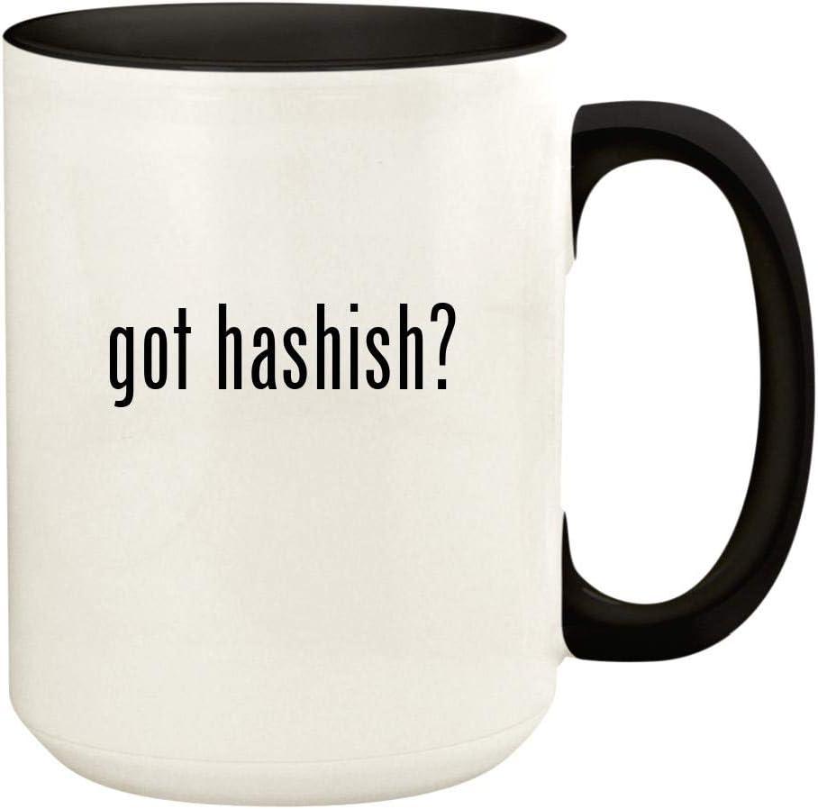 got hashish? - 15oz Ceramic Colored Handle and Inside Coffee Mug Cup, Black