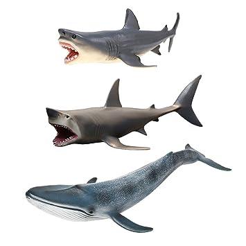 Paquete de 3 Adornos para acuarios de tiburones Megalodon ...