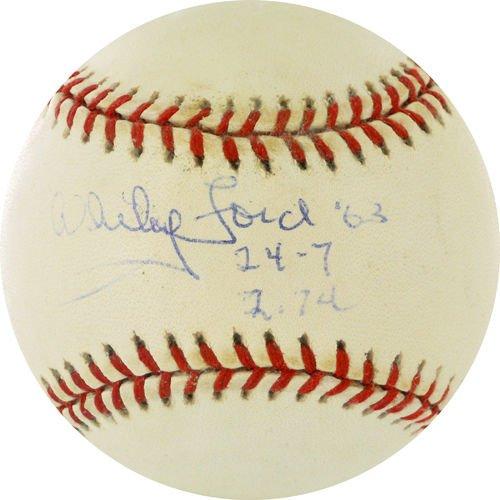 Baseball Ruth Vintage Glove Babe - WHITEY FORD 1963 SIGNED 24-7 RECORD w/2.74 ERA NY YANKEES VINTAGE OAL BUDIG BALL