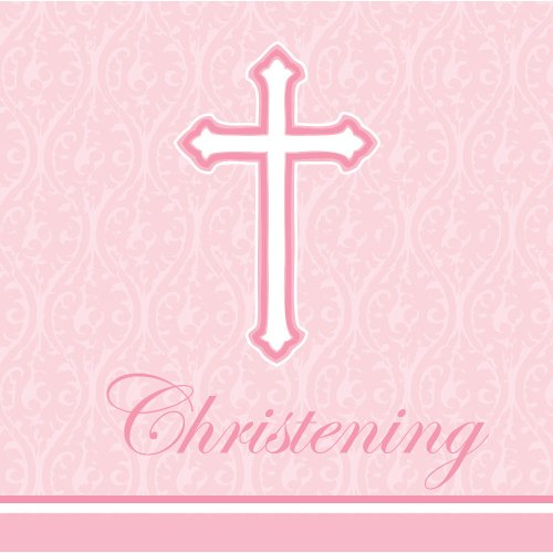 Christening Lunch Napkins - Creative Converting 18 Count Christening Lunch Napkins, Faith Pink