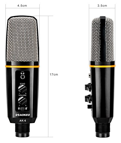 Aokeo's AK-6 Desktop USB Condenser Microphone, Best For Live Podcasting, Broadcasting, Skype, YouTube, Recording, Singing, Streaming, Video Call, Conference, Gaming, Etc. With Mount Stand, Plug & Play by aokeo (Image #2)