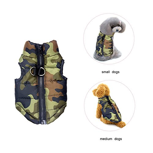 Dog Winter Coat Vest Windproof Warm Dog Clothes Jacket for Cold Weather Dog Outdoor Extra Protection Down Jacket for Small Dogs Army Green XL
