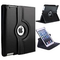 Xtra-Funky Serie iPad 2 / 3 / 4 PU de cuero elegante del caso giratorio de 360 ??grados con el automóvil de despertador / Función del sueño + protector de pantalla y lápiz óptico de punta blanda - Negro