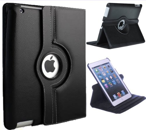 - Xtra-Funky Case Compatible with iPad Mini 1/2 / 3, PU Leather 360 Degree Rotating Smart Cover with Auto Wake/Sleep Function + Screen Protector and Soft Tipped Stylus - Black