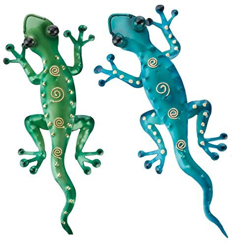 Regal Art & Gift 11-Inch Gecko Tropical Outdoor Decor, Metal Wall Art, Southwest Gifts – Green and Blue
