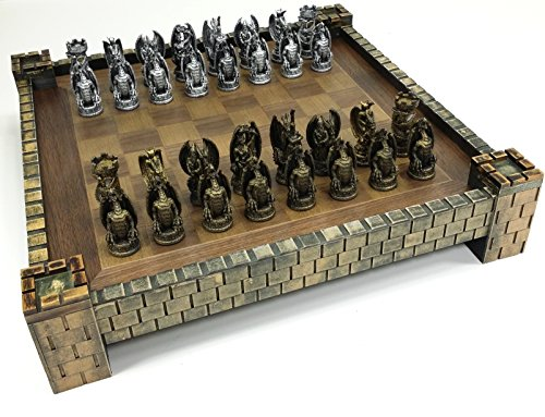 HPL Dragon Fantasy Gothic Medieval Times Chess Set W Castle Board ()