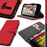 iGadgitz Premium Wallet Flip Red PU Leather Case Cover for Motorola Moto G 4G 1st Generation XT1032 XT1033 XT1039 With Card Slots + Viewing Stand + Magnetic Closure + Screen Protector