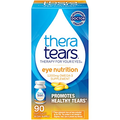 TheraTears 1200mg Omega 3 Supplement for Eye Nutrition, Organic Flaxseed Triglyceride Fish Oil and Vitamin E, 90 Count (Best Supplements For Dry Eyes)