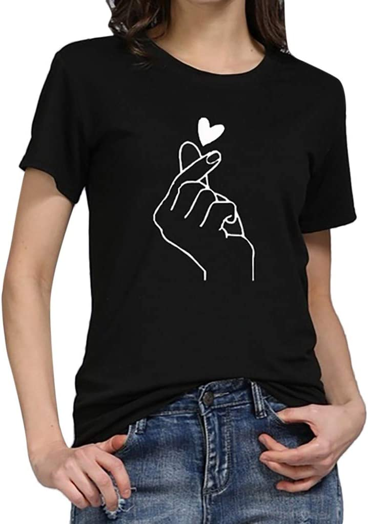 ALOVEMO Women Girl Funny Short Sleeve Cotton Shirts Cute Junior Graphic Tee Top Blouse