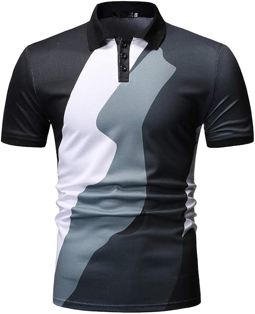 Sallydream poleras Polo Hombre Remiendo de los Hombres botón Slim Fit Turn-Down Cuello Camisa de Manga Corta Blusa: Amazon.es: Ropa y accesorios