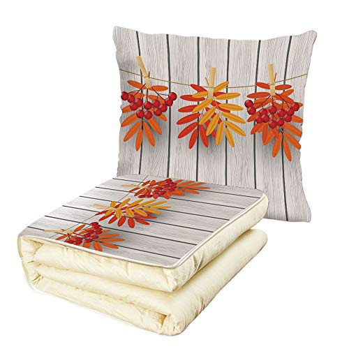 Quilt Dual-Use Pillow Rowan Vibrant Autumn Leaves and Red Fruits Hanged with Clothes Pin on a String Print Decorative Multifunctional Air-Conditioning Quilt Grey Orange Red
