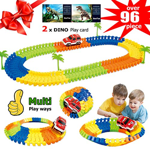 (Race Car Tracks for Kids,Flexible Tracks with Electronic Car,Creat A Road,96 Piece Train Track Set for Boys,Party Game Toys,Gift for Boys Girls Toddlers Aged 3 4 5 6 Years Old, 2 Dinosaur Play Card)