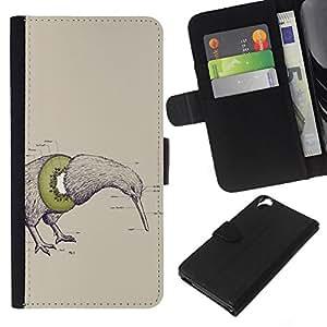KingStore / Leather Etui en cuir / HTC Desire 820 / Arte Pájaro del kiwi fruta Dibujo Lápiz Palabra Verde