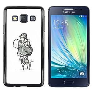 Shell-Star Arte & diseño plástico duro Fundas Cover Cubre Hard Case Cover para Samsung Galaxy A3 / SM-A300 ( Girl Artist Art Drawing Pencil Sitting Long Skirt )