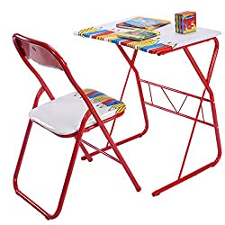 MasterPanel - Table Chairs Set Kids Study Writing Lovely Home School Folding Children #TP3340