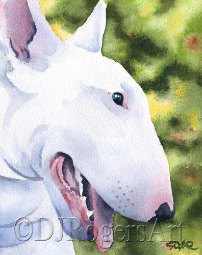 Bull Terrier Art Print by Watercolor Artist DJ Rogers