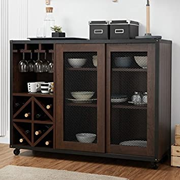 Liquor Storage Cabinet Industrial, Mobile Buffet Unit with Doors Walnut Great for Storage of Your Favorite Bottles of Wine, Liquors, Glassware and Drinking Accessories