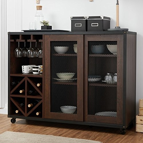FOA Liquor Storage Cabinet Industrial, Mobile Buffet Unit with Doors Walnut – Great for Storage of Your Favorite Bottles of Wine, Liquors, Glassware and Drinking Accessories