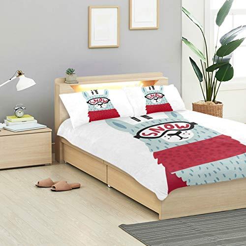 MIGAGA Duvet Cover Set, Cute Cartoon Llama Ski Glasses Childish, Decorative 3 Piece Bedding Sets with 2 Pillow Shams Twin/TWINXL Size