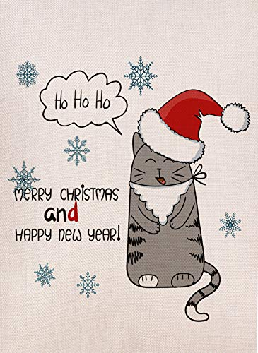 Dyrenson Home Decorative Merry Christmas Garden Flag Cat Double Sided, Xmas Quote Kitty House Yard Flag Kitten, Happy New Year Winter Yard Decorations, Funny Seasonal Outdoor Flag 12 x 18 Holiday