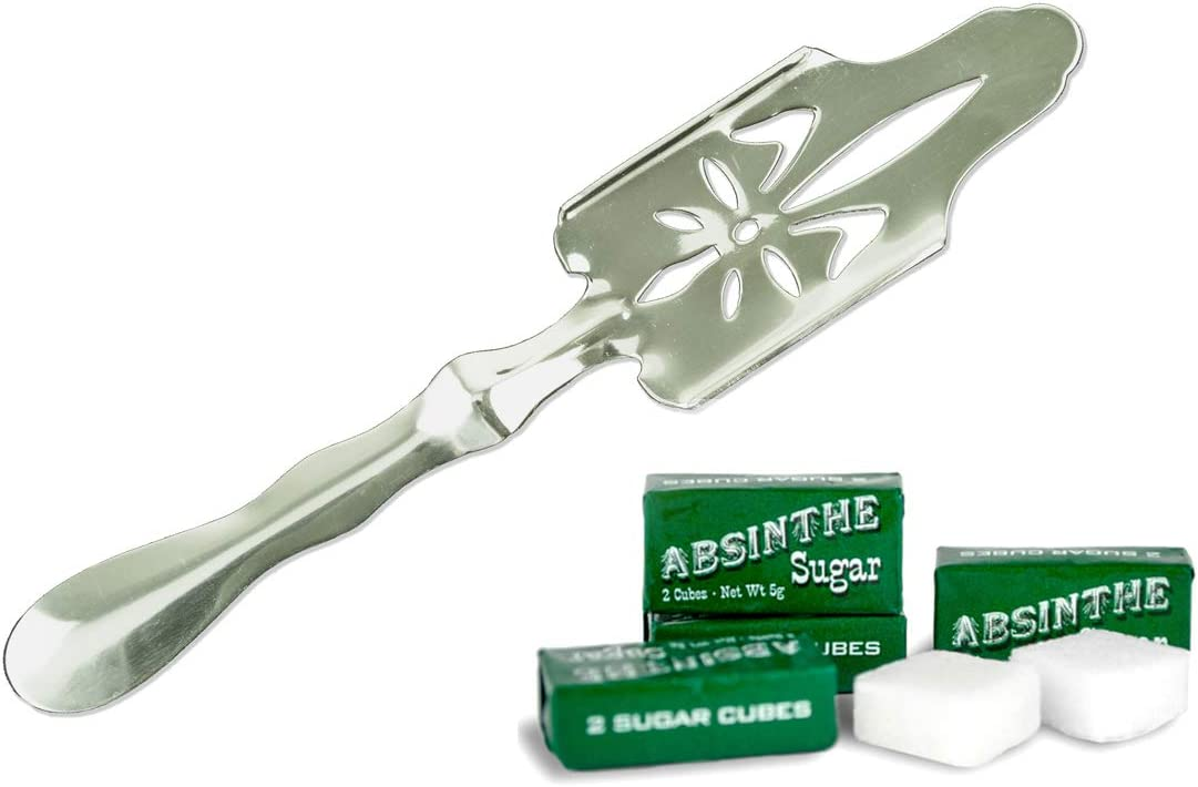 Bonnecaze Absinthe /& Home Cuchara de absenta y 10 cubos de az/úcar 5 paquetes