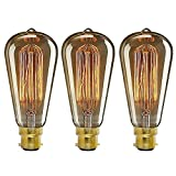 ONEPRE Pack of 3 Vintage Edison Light Bulb BC B22 Bayonet 40W Retro Decorative Filament Light Bulb Dimmabl