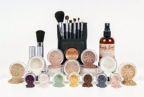 (ULTIMATE KITChoose Your Shade Full Size Mineral Makeup Brushes Set Bare Skin Sheer Powder Blush Eye Shadow Foundation Cover (Light Tan) by Sweet Face Minerals)