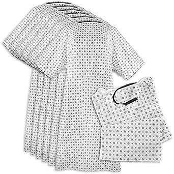 Bata de hospital (6 Pack), mezcla de algodón, útil, moda paciente fiesta, Back Tie, 46 cm