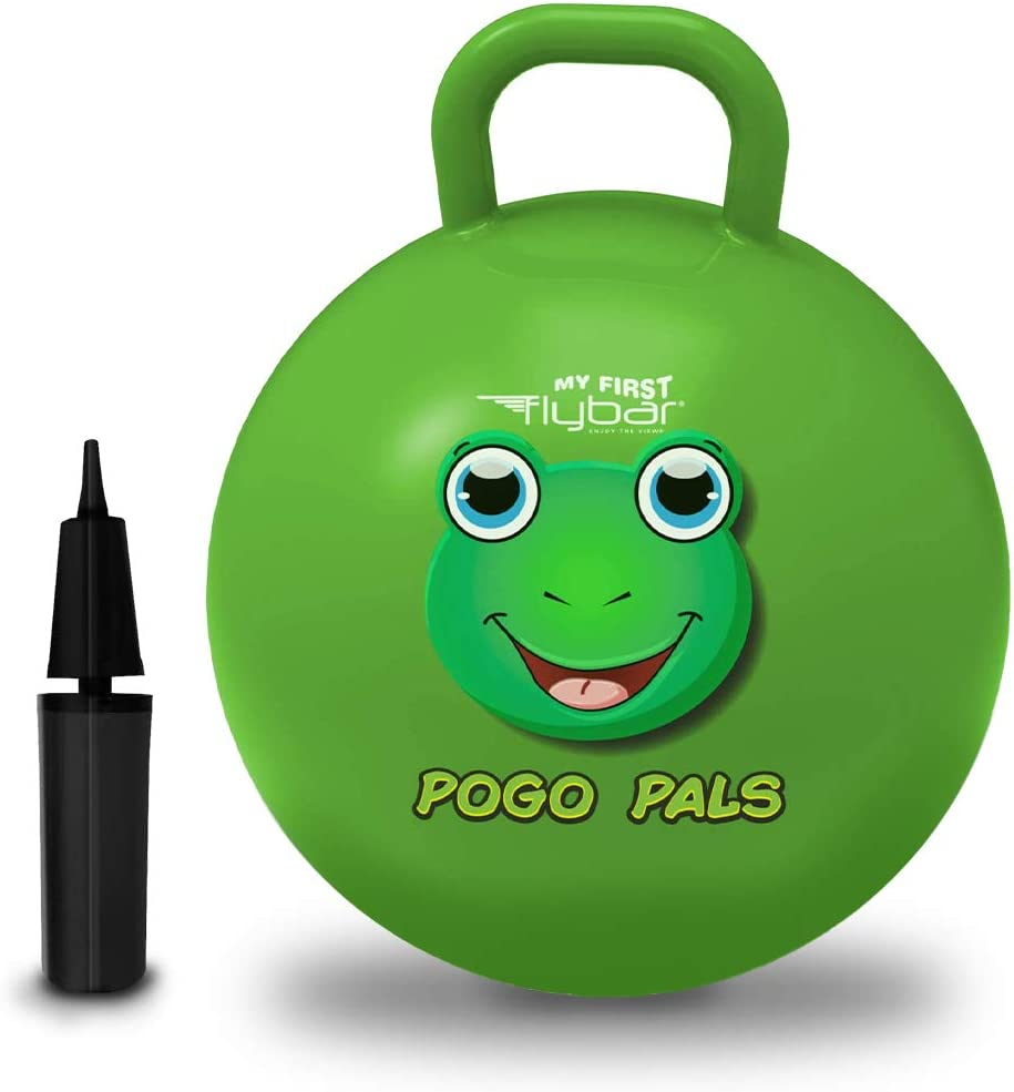 Princess Pink, Large Indoor and Outdoor Toy Balance Ball for Kids Flybar My First Pogo Pals Hopper Ball for Kids Pump Included Bouncy Ball with Handle