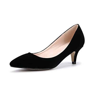 a8f21febce5 Women's Faux Velvet Classic Mid Kitten Heel Pointed Toe Pumps