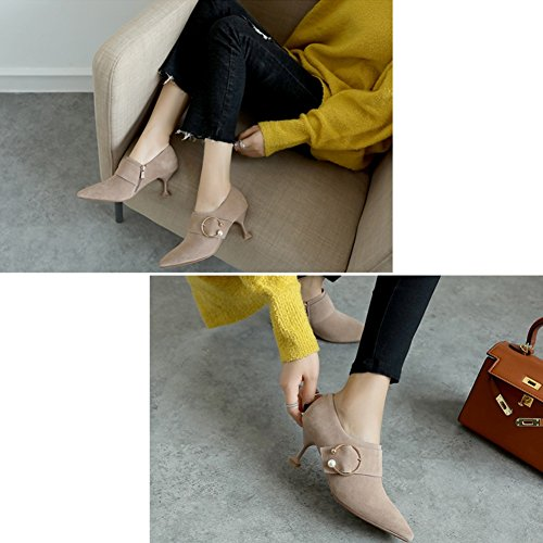 LIANGJUN Women Ankle Boots High-heeled Shoes Spring Winter, 3 Colors Available, 6 Sizes (Color : 1#, Size : EU38=UK5.5=L:240mm) 2#
