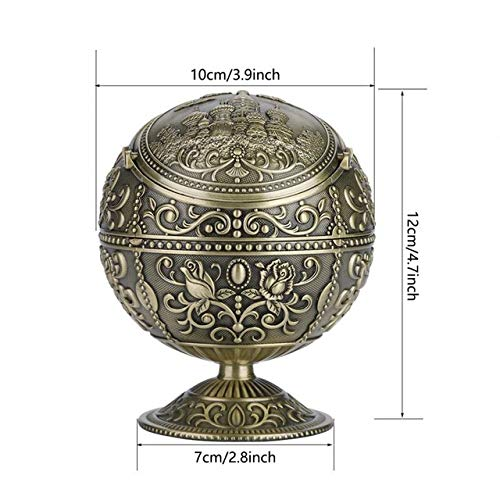 ZAMTAC 1pc Durable Vintage Art Craft Ashtray Metal Round Ball Stamped Mini Ashtray Pattern Gift Decoration - (Color: Antique Brass)