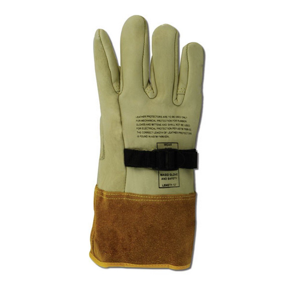 Magid Glove & Safety 60611PS-9 Magid Power Master 60611PS 12'' High Voltage Leather Protector Gloves, 12, Tan, 9