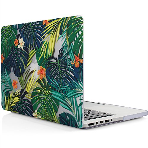 iDOO Soft Touch Plastic Hard Case ONLY for MacBook Pro 13 inch with Retina Display NO CD Drive (A1425 / A1502) - Tropical Palm Leaves