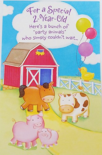Old - Farm Party Animals Happy 2nd Second Birthday Greeting Card - Turning Two (Barnyard Horse Cow Pig) ()