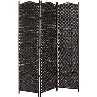 3 panel dark brown wood bamboo woven room divider decorative indoor folding screens - Home Decor Screens