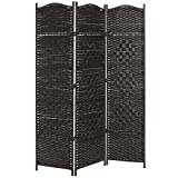 MyGift Wood & Bamboo Woven 3-Panel Room Divider, Indoor Folding Screen with Dual-Sided Hinges